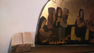 Maria e il bambino e i servi di Maria nell'icona di Margherita Pavesi